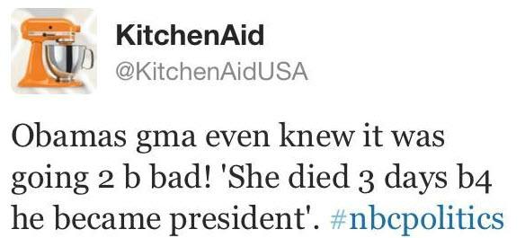 Людям свойственно ошибаться, но, когда компании совершают ошибки в социальных сетях, загладить вину и восстановить репутацию становится гораздо сложнее. KitchenAid  Вспомним случай печально известного бренда KitchenAid, опубликовавшего твит о бабушке Обамы, которая скончалась за 3 дня до того, как он победил на президентских выборах.